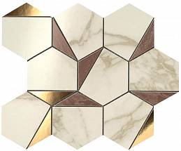 MARVEL Gold Hex Brown-Calacatta (9EHB) 25,1x29 Керамическая плитка